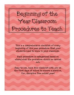 Classroom Procedures to Teach