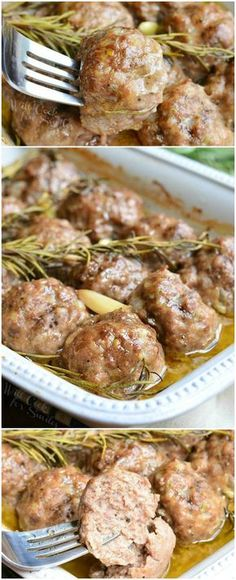 Roasted Garlic Rosemary Baked Meatballs. Juicy, tender meatballs made with beef and pork mixture, roasted garlic and rosemary inside and baked with more garlic and rosemary.