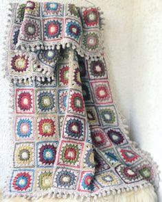 Handmade Crochet Throw. Crochet Afghan. Crochet Throw Blanket. Crochet Blanket. Cozy wool yarn Blanket. Crochet Throw. Bed In Living Room, Bed Room, Homemade Blankets, Crochet Granny, Crochet Blankets, Granny Square Blanket, Warm Blankets, Wool Yarn, Sewing