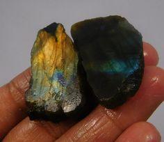 90 Cts. 100% Natural Yellow Flashy Labradorite Slice Lot Mineral Specimen(NH768) #NagmaGems