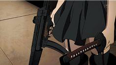 Black dress, garters, throws gun for samurai sword, anime gif.