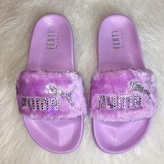 Rihanna s Bling Custom Women s Puma Fenty Fur Slides In Lilac With  Beautiful Swarovski Crystals- Limited Edition! 6be782832