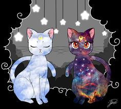 Beautiful Luna and Artemis art by missxlisaxchan