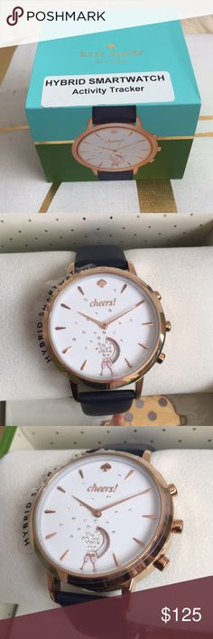 Kate Spade Hybrid Smart Watch Kate Spade Hybrid Smart Watch Black/Rose gold on white face. Color N. Text/Call Smartphone notifications. Set goals. Activity Tracking. Time&Date Auto Update. No charging required. Sleep track. Control music. Alarm clock. Take selfies. Water resistant. Analog movements. New in box with tags. kate spade Accessories Watches
