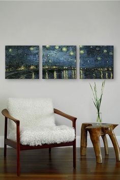 Starry Night Over The Rhone by Vincent Van Gogh (Panoramic) Canvas Print - Set of 3