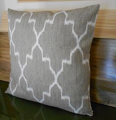 Modern grey moroccan ikat decorative pillow cover, accent pillow, throw pillow. $28.00, via Etsy.