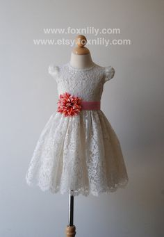 """Ivory OR White Lace Dress """"Petra with Cap Sleeves"""", Flower Girl Dress, Communion Dress, Knee-long, CUSTOM  size"""
