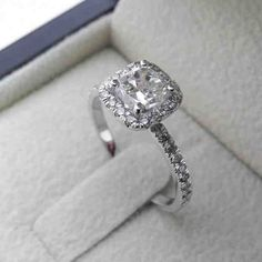 1 Carat Cushion Cut Halo Engagement Ring