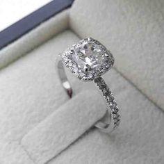 1 Carat Cushion Cut Halo Engagement Ring
