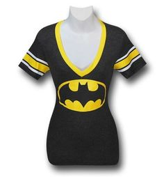 The 50% cotton 50% polyester Batman Athletic Deep V-Neck Juniors T-Shirt is for that pick up game of Bat-ball, which is normally exclusively played on either the Wayne Manor grounds or the Batcave. Oh, you don't know how to play Batball? Well, suppose you could still get the 50% cotton 50% polyester Batman Athletic Deep V-Neck Juniors T-Shirt for other sports...or just sitting around! Crafted to be form fitting and for the ladies, the Batman Athletic Deep V-Neck Juniors T-Shirt has a deep…