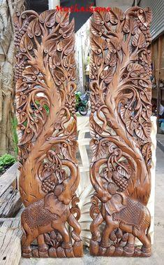 "Set Large Teak Wood Sculpture 72"" Carving Dragon Swan Elephant Flower Wooden Hand Craved Wall Art Pa"