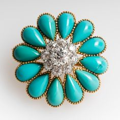 turquoise and diamond brooch/pendant, early 1900s