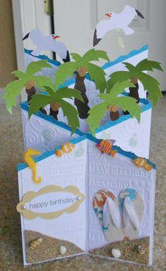 Handmade beach cascade card. Cuttlebug birthday. 3d Cards, Some Cards, Pop Up Cards, Paper Cards, Tri Fold Cards, Fancy Fold Cards, Folded Cards, Cascading Card, Tarjetas Pop Up