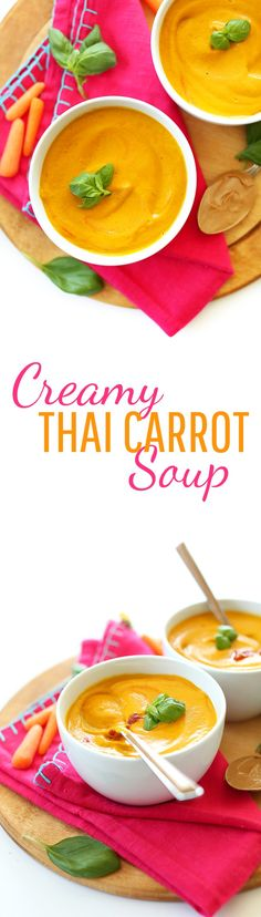 get your bag of carrots and coconut milk now.I skipped the basil and it was still 'deliceux' 7 ingredient, THAI CARROT carrot soup! Creamy, free, and so delicious. Carrot Recipes, Veggie Recipes, Whole Food Recipes, Soup Recipes, Vegetarian Recipes, Healthy Recipes, Baker Recipes, Cooking Recipes, Thai Carrot Soup