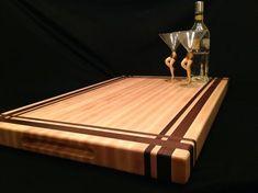 Custom Made Large Rock Maple And Black Walnut Cutting Board