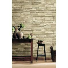 The Wallpaper Company 56 sq. ft. Neutral Stone Wallpaper - WC1281976 - The Home Depot