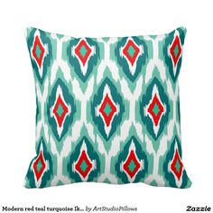 Modern red teal turquoise Ikat Tribal Pattern 1a Pillows