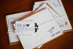 // Or say thanks with a travel-themed note: | 27 Travel-Inspired Wedding Ideas You'll Want To Steal