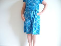 SALE 60s vintage blue dress, plus size, taffeta, perfect for the mother of the bride, elegant lady brand, flattering ruching by BananaOrangeApple