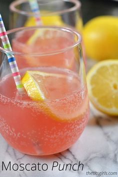 Pink Moscato Wine Punch | Try this drink recipe for your next brunch. It is perfect for entertaining.