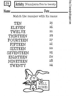 grade number symbols and words Kindergarten Math Worksheets, Vocabulary Worksheets, English Vocabulary, English Grammar, Teaching English, Maths, English Activities For Kids, English Lessons For Kids, English Class