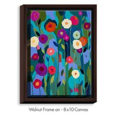 "DiaNocheDesigns 'Good Morning Sunshine Flowers' by Carrie Schmitt Painting Print on Wrapped Framed Canvas Size: 41.75"" H x 31.75"" W x 1.75"" D, Fram..."