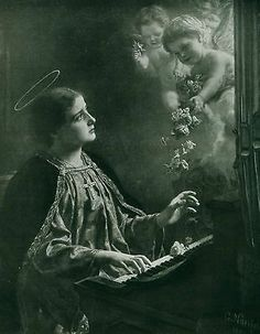 XX Rare c1894 Print Christian Catholic SAINT CECILIA at Organ Angel Cherub Roses