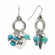 """SONOMA life + style Silver Tone Simulated Turquoise Bead & Heart """"Joy"""" Cluster Drop Earrings. LOVE THESE!!!"""