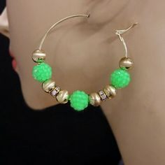 Neon Beaded Hoop Earrings Ae3021-e3117 Arif's Collection. $18.85. Earrings