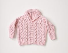 baby hand knitted cabled cardigan with shawl collar by Patons Australia