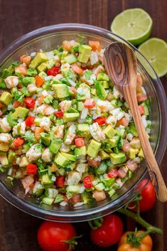 Shrimp Avocado Salsa Recipe This Avocado Shrimp Salsa Recipe is a cross between a pico de gallo, guacamole and shrimp ceviche. It's our favorite salsa recipe of all time – such a. Seafood Recipes, Appetizer Recipes, Mexican Food Recipes, Keto Recipes, Appetizers, Cooking Recipes, Healthy Recipes, Dinner Recipes, Mexican Desserts