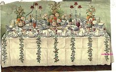 Supper Buffet Party Table Setting.  via 1861  The Book of Household Management By Mrs. Isabella Beeton.  Google Books (PD-100)   suzilove.com