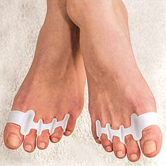 Set of 2 soft, flexible gel separators help stretch, strengthen, and properly align toes to relieve foot and toe pain.