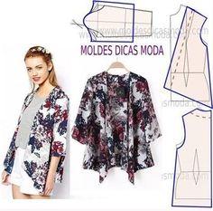 Kimono Pattern, Cardigan Pattern, Jacket Pattern, Fashion Sewing, Diy Fashion, Ideias Fashion, Diy Clothing, Sewing Clothes, Dress Sewing Patterns