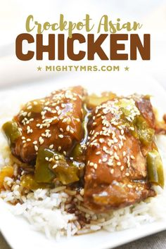 Crockpot Asian Chicken Thighs - You'll love how easy this recipe is to make! Tender chicken thighs cook in a 2-ingredient sauce made with Asian sesame dressing with ginger and soy plus Teriyaki sauce. Everything goes in your slow cooker. Healthy bell peppers and onions add to the flavor of the sweet and tangy sauce made thick with a slurry. Serve over white rice and top with toasted sesame seeds for a take-out style dinner. A simple and easy crockpot chicken thigh recipe you must try! Best Crockpot Recipes, Slow Cooker Recipes, Easy Recipes, Easy Chicken Dinner Recipes, Chicken Thigh Recipes, Crockpot Chicken Thighs, Slow Cooker Steak, Crock Pot Cooking, Asian Chicken