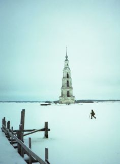 St. Nicholas Church Belltower, Kalyazin, Tver Oblast (on the Volga River) Russia. town was flooded in 1939 and the monastery was lost, only the belltower of the 18th century church remains as a landmark.