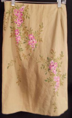 $30 Mandalay Sz 8 Handpainted Khaki Skirt Floral Dressy Career Washable Wiggle