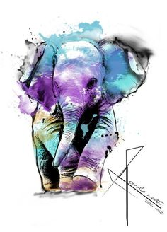Carola marti tattoo artist art in 2019 акварельные картины, Elephant Love, Elephant Art, Elephant Tattoos, Animal Paintings, Animal Drawings, Cool Drawings, Pencil Drawings, Watercolor Animals, Watercolor Paintings