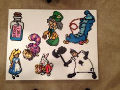 Alice in Wonderland Perler Beads - Drink Me, Alice, Cheshire Cat, Mad Hatter, Caterpillar, Ace of Spades, White Rabbit