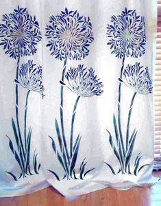 Soft voile curtains stencilled with Large Agapanthus Flower Stencil Stencil Painting, Fabric Painting, Fabric Paint Shirt, Diy Cushion Covers, African Lily, Crochet Leaves, Fabric Stamping, Flower Embroidery Designs, Silk Art