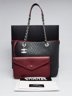 b028416e9bdf Chanel Black Perforated Grained Calfskin Leather Shopping Tote Bag - Yoogi's  Closet