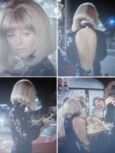 "Perfection: Julie Christie's black sequin backless dress and swing cut. From ""Shampoo"""