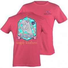 Love this strawberry Simply Southern color tee with a cute manatee on it.  It says Good Vibes Only.  www.OMGthatschic.com