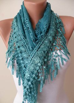 Turqouise Color Lace Shawl / Scarf  with Lace Edge  by SwedishShop, $17.90