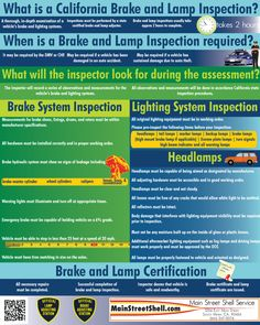 A Brake And Light Inspection May Be Required By The State Of California If  A Car