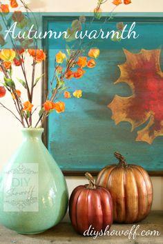 ~J Beautiful.These Fall Mantel Ideas Go Beyond Just Pumpkins: Red and Teal Fall Mantel Thanksgiving Decorations, Seasonal Decor, Pumpkin Decorations, Thanksgiving Celebration, Diy Shows, Autumn Decorating, Diy Decorating, Red And Teal, Orange Yellow