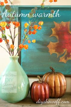 Turquoise, red and orange fall mantel at diyshowoff.com