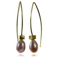 Sikara's 18K Vermeil Euro Pin Drop Pearl Earrings