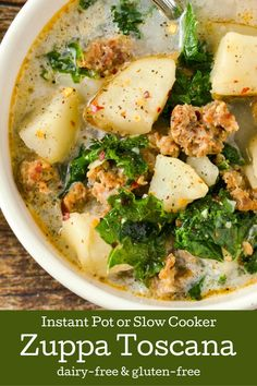 Delicious Olive Garden Copycat Zuppa Toscana made dairy-free gluten-free with directions for Instant Pot and Slow-Cooker. Dairy Free Soup, Dairy Free Diet, Is Milk Gluten Free, Foods With Gluten, Gluten Free Cooking, Dairy Free Recipes, Gluten Free Recipes Instant Pot, Dairy Free Lunches, Gluten Free Soups