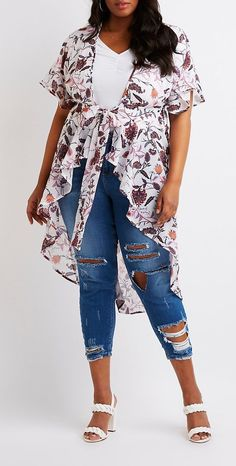 Plus Size Floral Tie Front Kimono #plussize